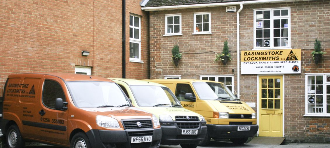 our vans outside our shop